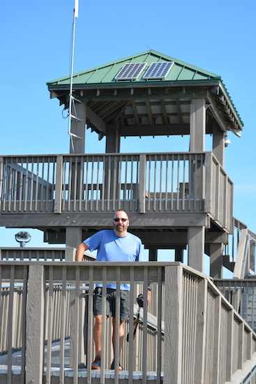 Chuck on the observation tower