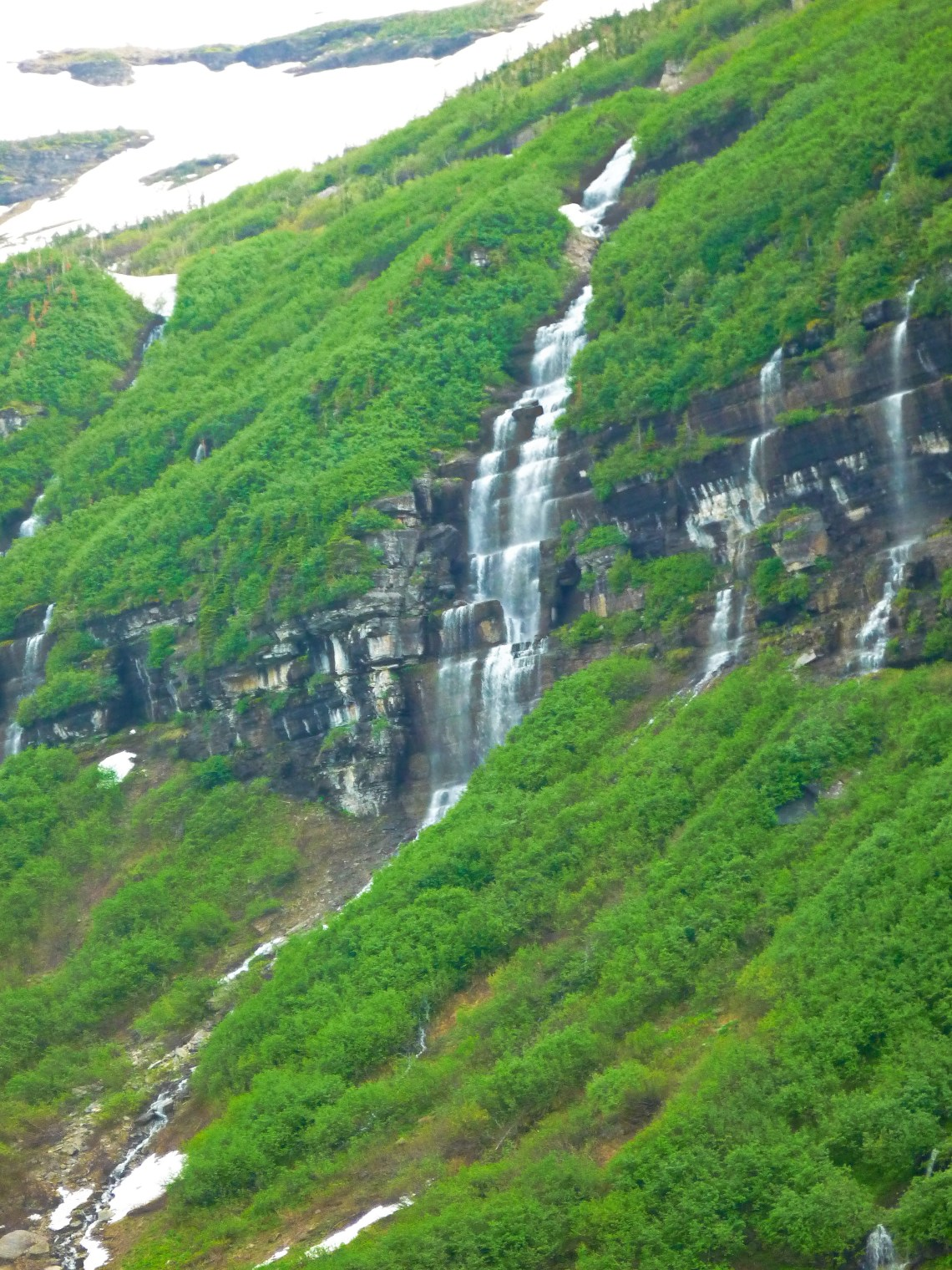 Falls at the end of Cameron Lake, Waterton