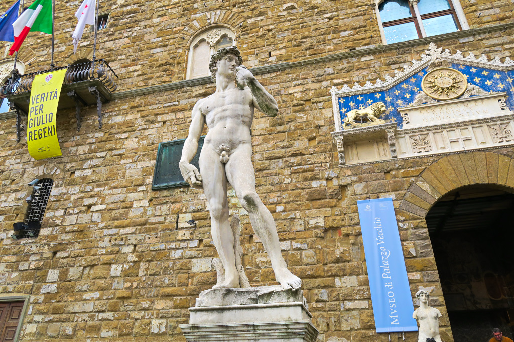 Copy of 'The David' in front of the Piazza Vecchio