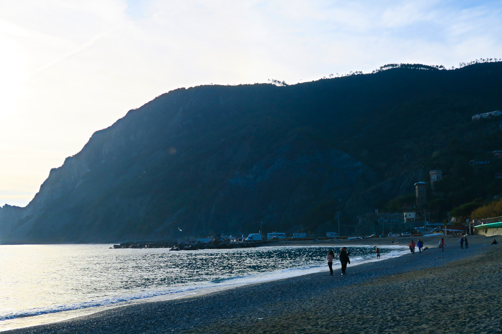 Stretch of beach in Monterosso, Cinque Terre, Italy
