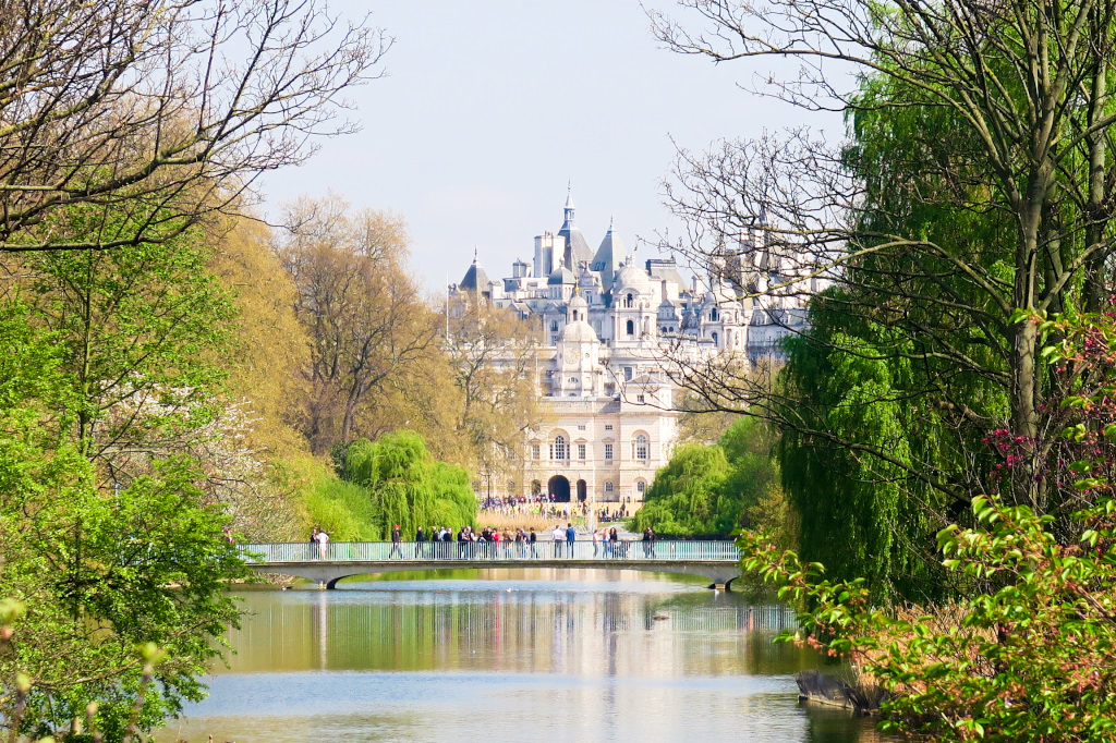 View from Buckingham Palace through St James Park