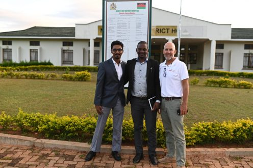 The Pacific team outside the entrance to Nkhata bay district hospital
