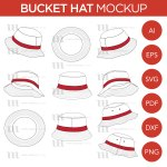 Bucket Hat Mockup And Template 10 Angles Layered Detailed And Editable Vector In Eps Svg Ai Png Dxf And Pdf Mark Anthony Media