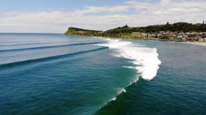Drone video of waves at Lennox Head Main Beach on a beautiful day.