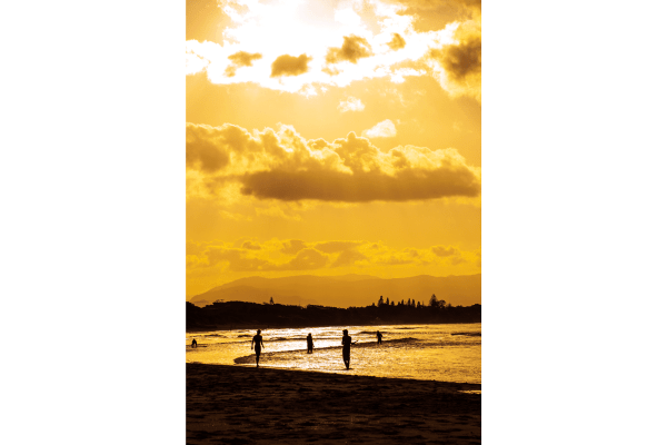 sunset on the beach in byron bay