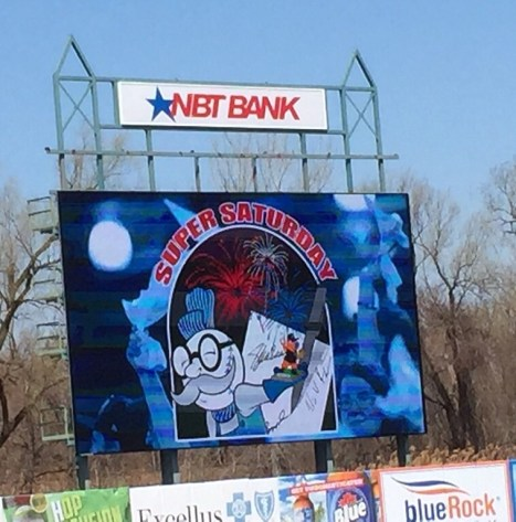 NBT Bank Stadium features a great video scoreboard over the left-field fence.