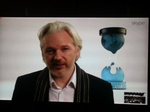 Assange on the 55-inch TV