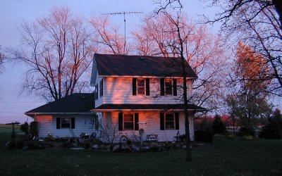 Wisconsin farmhouse at sunset