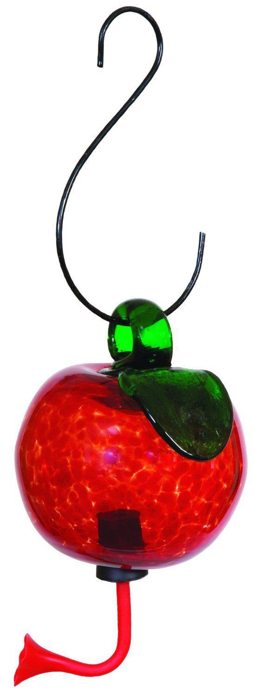 glass apple hummingbird feeder