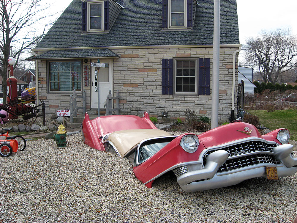 Cadillac, Big Boy, Hamburglar, Farmall tractor in Cudahy WI yard
