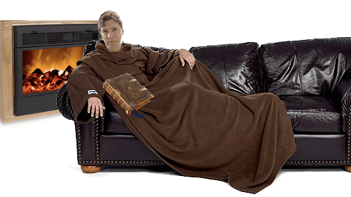 Monk: Mark Czerniec in Slanket, with Heat Surge electric heater