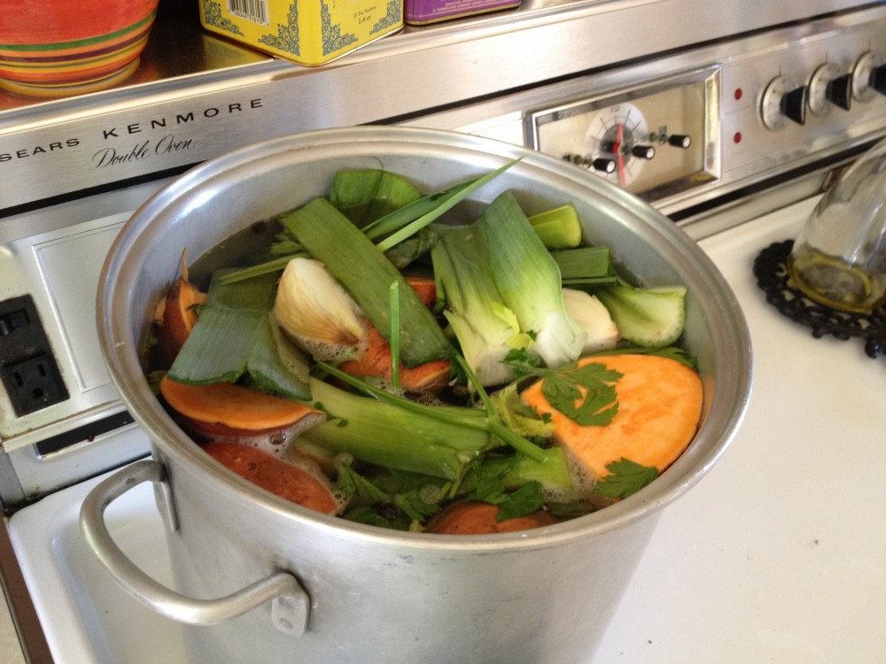 stock pot cooking Miracle Broth recipe during chemotherapy