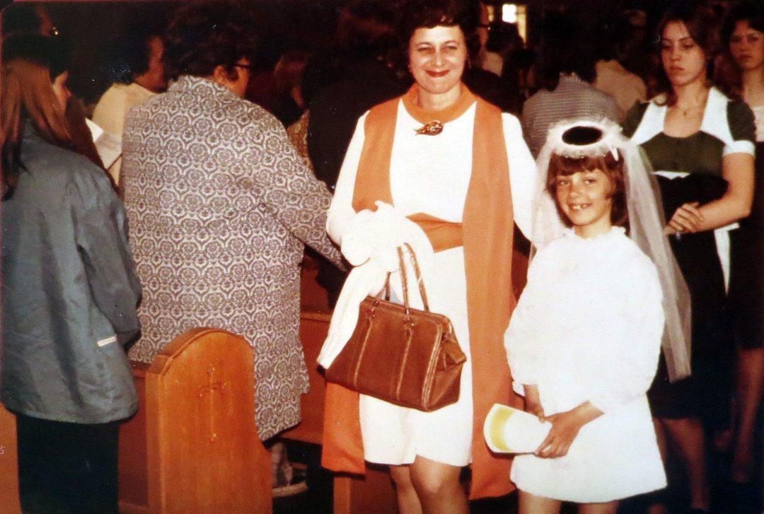First Communion: Carol and Amy Dibble, 1974, St. Mary's Catholic Church, Kenosha, WI
