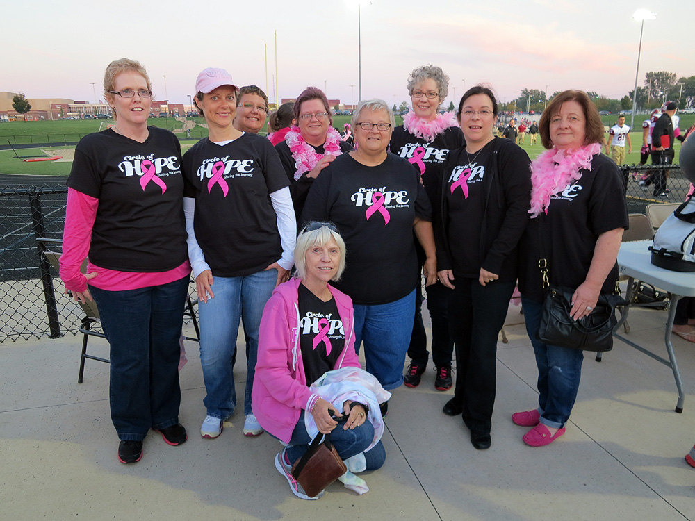 Circle of Hope breast cancer support group at Tackle Pink football game in Kenosha, Wisconsin