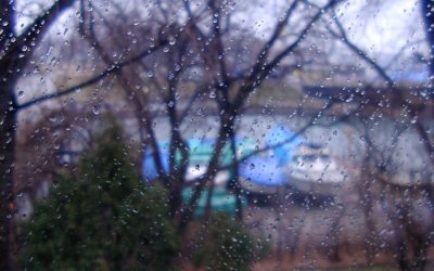 Winter rain on Kenosha harbor