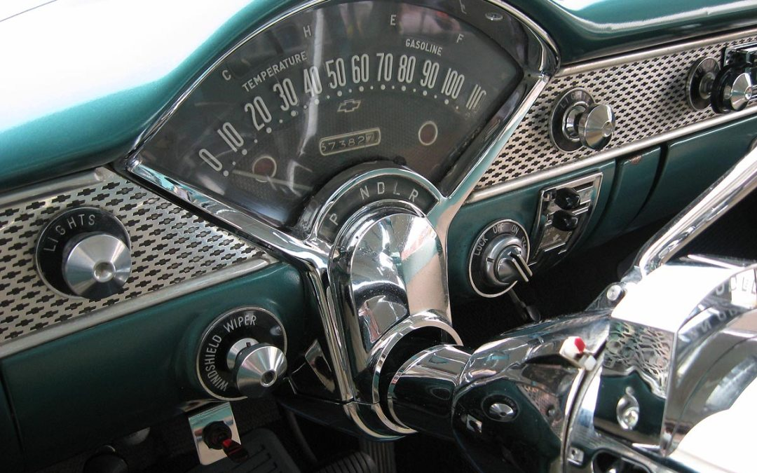 1955 Chevy Bel Air dashboard, Monroe, Wisconsin