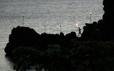 Black Rock torch lighting: Sheraton Maui Resort