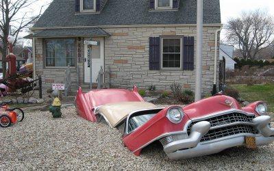 Cadillac Fleetwood car buried in Cudahy, Wisconsin yard
