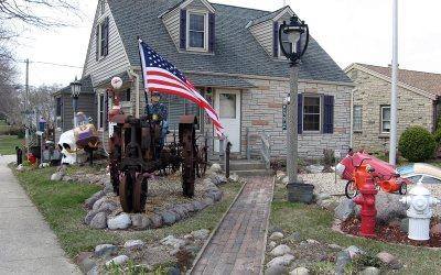 Farmall McCormick tractor, Cudahy, Wisconsin front yard
