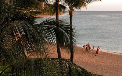 Wedding party on Kaanapali Beach, Maui, Hawaii