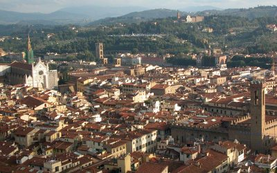 Florence, Italy: Duomo view to Santa Croce, Bargello