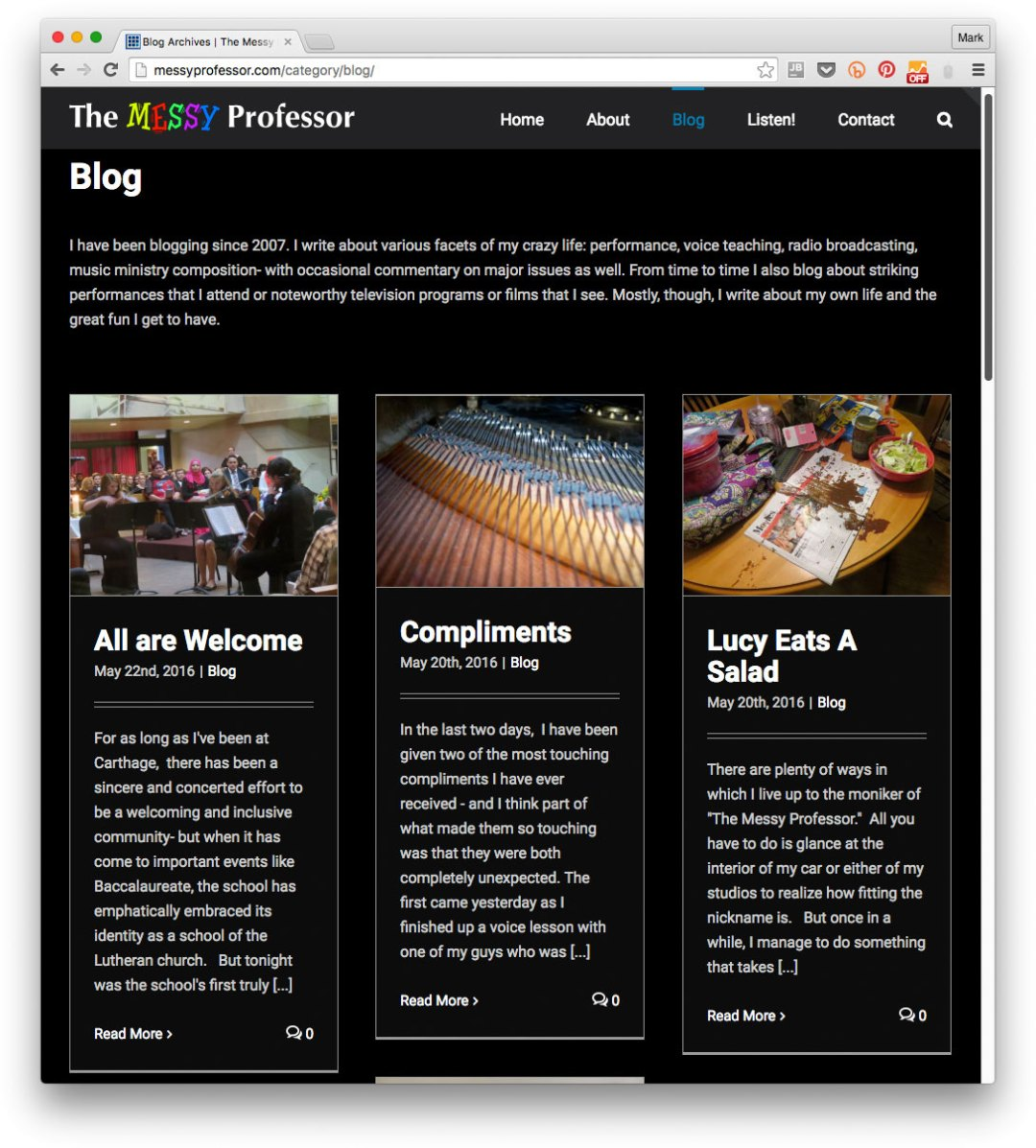 Website example: Gregory Berg's blog The Messy Professor