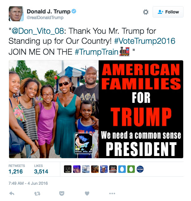 Trump retweet: Black family photo labeled American families for Trump