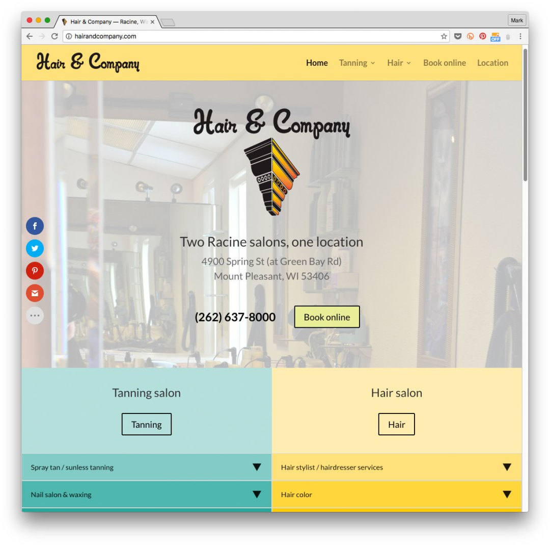 Web design for Hair & Company, Racine WI