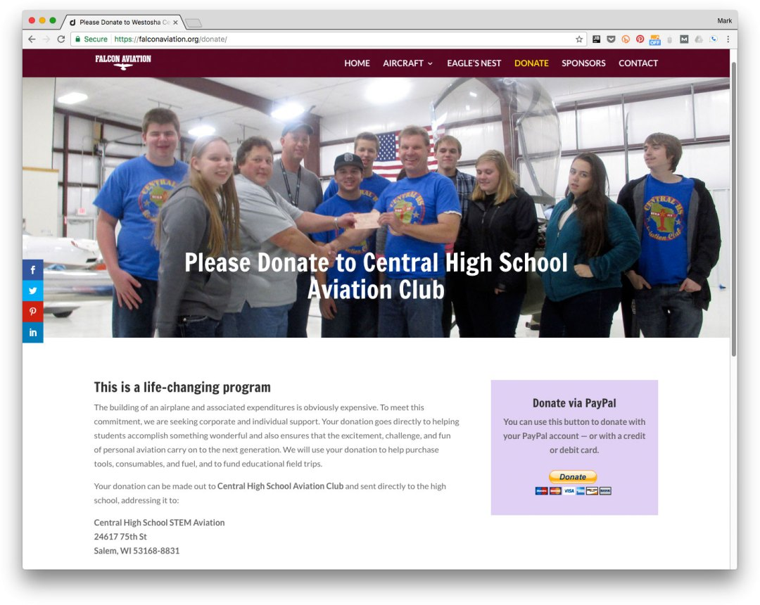 Aviation website: PayPal donations - Westosha Central High School - Salem, Wisconsin