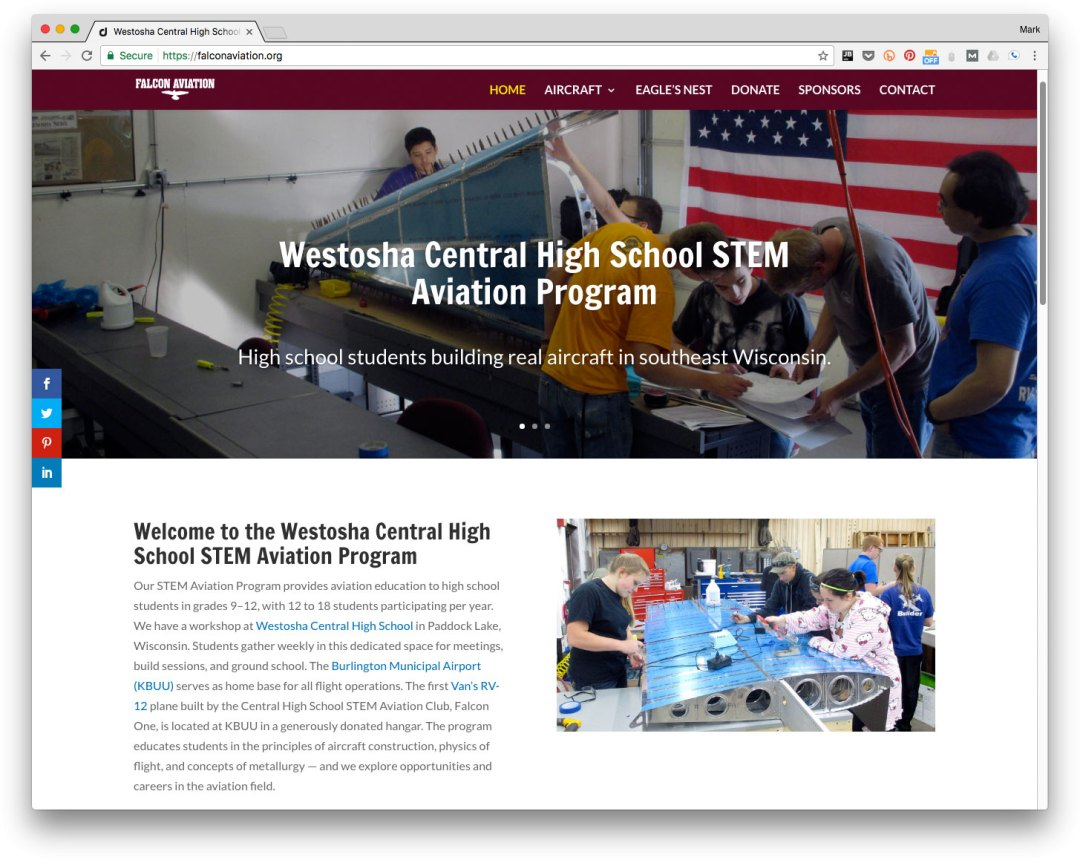 Web design for Westosha Central High School STEM Aviation Project - Salem, Wisconsin