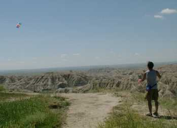 flying a kite in the Badlands