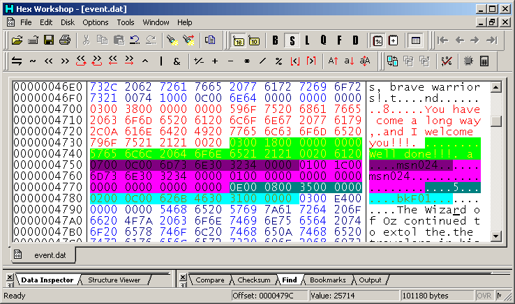 A screenshot of a hex editing program used to modify font size, text boxes, menus, and other compatibility issues.