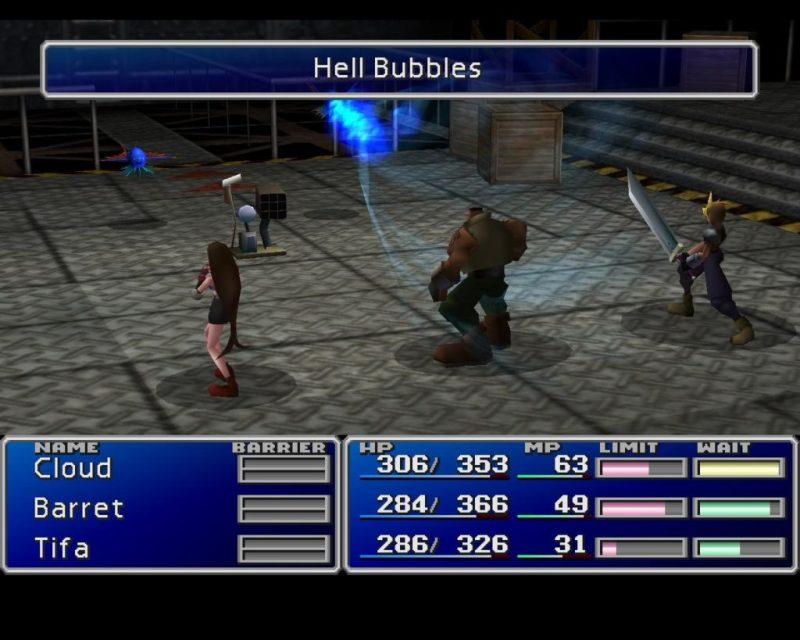 Final Fantasy VII battle mode screenshot showing the battle ground, avatars, enemies, and basic statistics