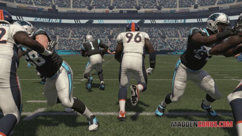 Madden NFL 17, on-field replay screenshot showing Vance Walker about blow up a Panthers running play. This is more akin to the action in Dynasty Warriors 7