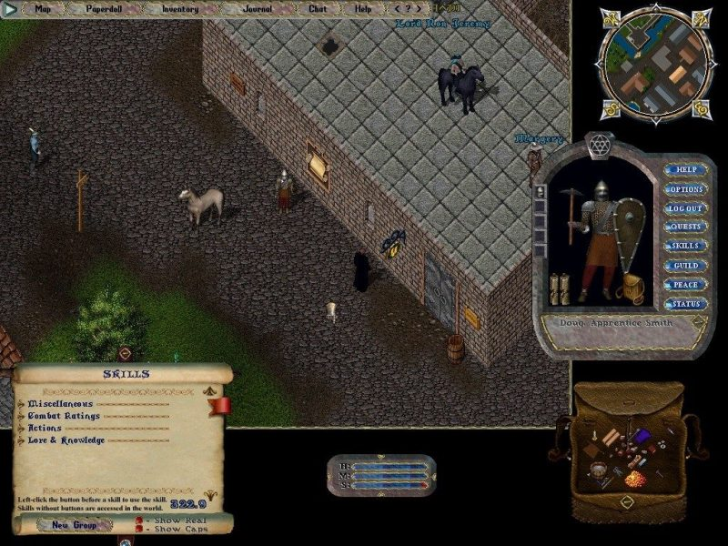 Ultima Online (Second Age) screenshot showing the exploration panel, avatar image, mini-map, inventory, and basic statistics