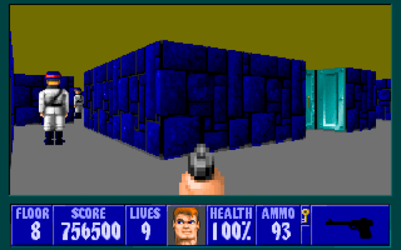 Wolfenstein 3D screenshot showing the exploration panel, avatar image, inventory, and basic statistics