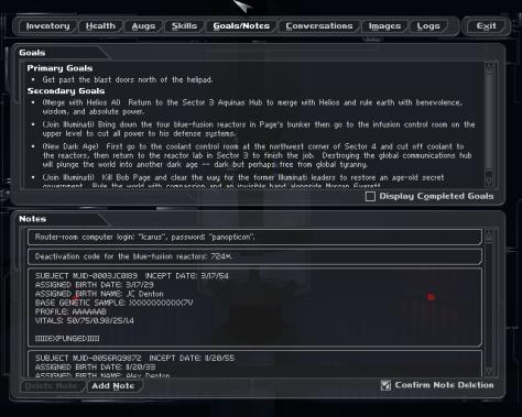 Deus Ex goals screen