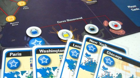 Pandemic, finding the cure is a matter of discarding sets of cards.