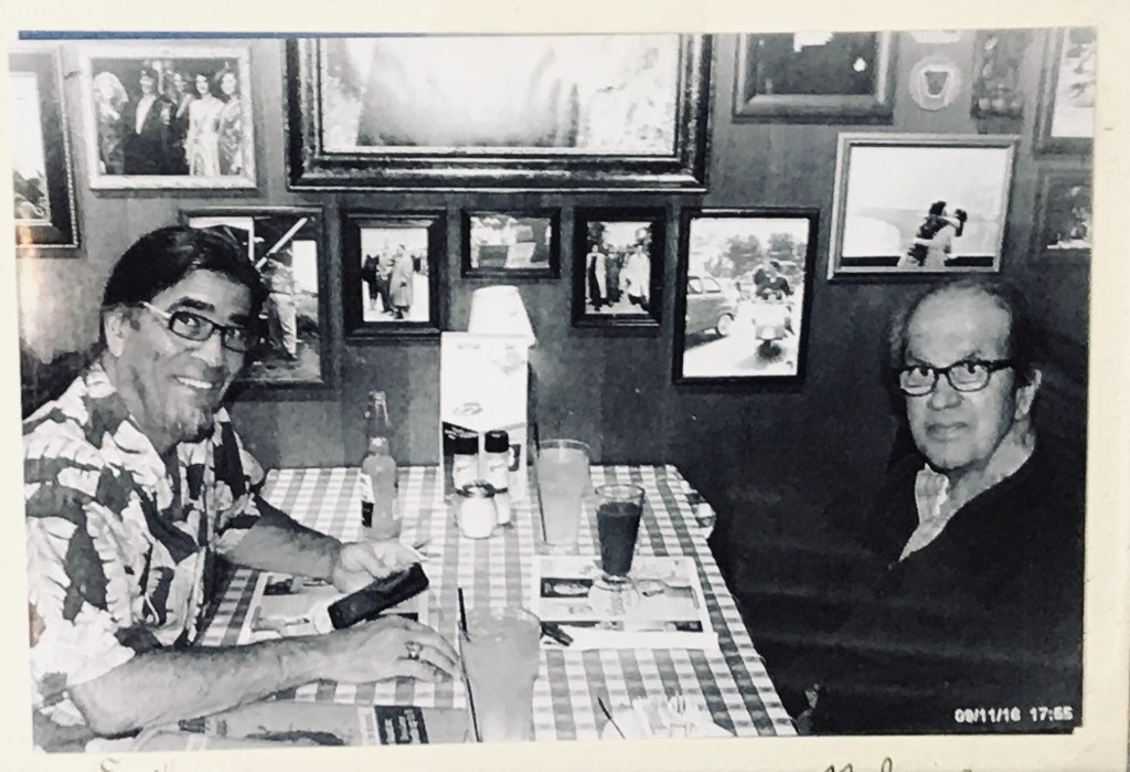 My father and I sharing a meal together, my treat.
