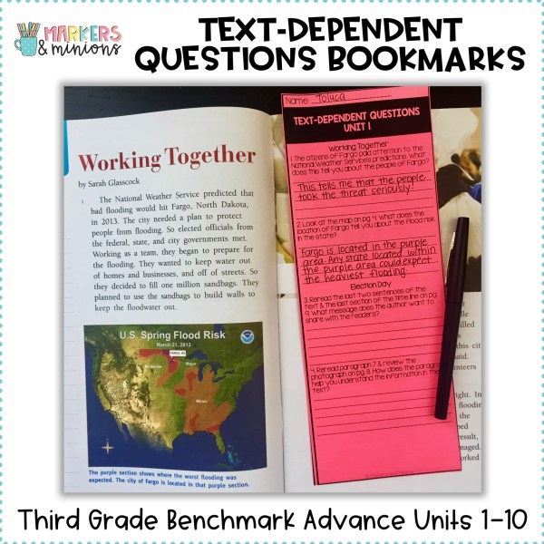 Text Dependent Questions Bookmarks 3rd Grade Benchmark Advance Units 1 10