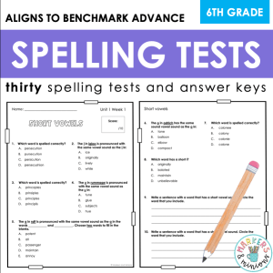 Sixth grade Spelling Tests Cover
