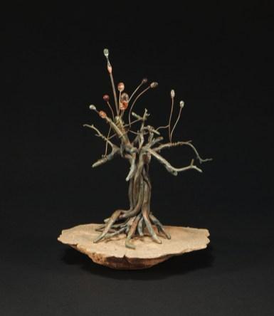 Little Bronze Tree - Utah Red Rock, Cast Bronze, Glass Dipped Copper Wire