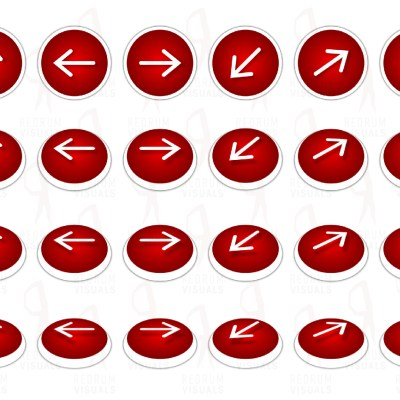 A Set of Animated White Arrows on Red Ellipse