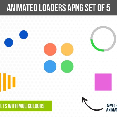Loading Animations APNG Pack (5 Designs + Multicolours)