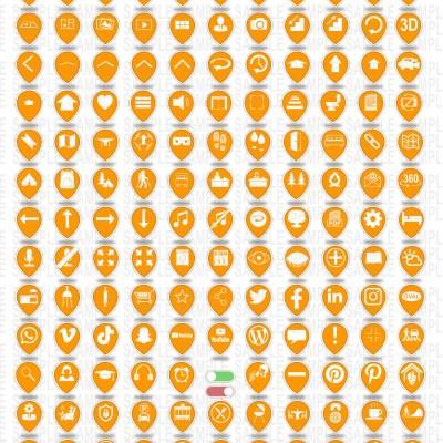 MacNimation - Tear Drop Icons- White on Orange - 140 icons