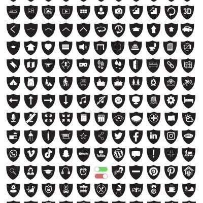 MacNimation - Shield Icons- White on Blackhite - 140 icons