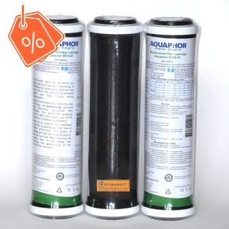 Three Aquaphor B510-07 Replacement cartridges with a discount label