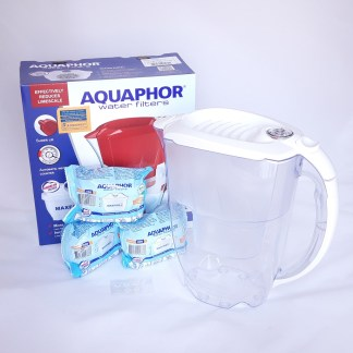 Aquaphor Amethyst White filter jug (pitcher) with 3 Maxfor PLUS