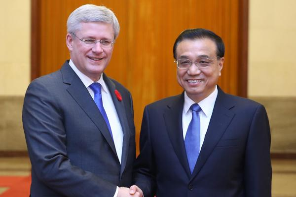 Li Keqiang and Stephen Harper
