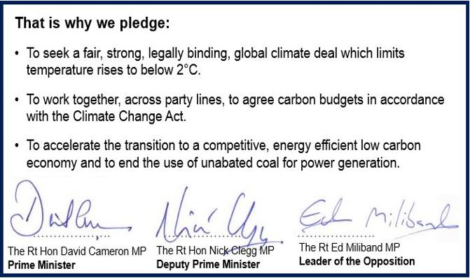 Three party climate change pledge